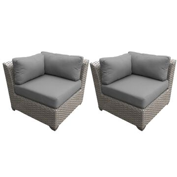 TK Classics Florence Grey Wicker Outdoor Corner Sofa (Set of 2)