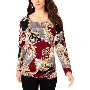 Thalia Sodi Womens Embellished Cut-Out Pullover Top