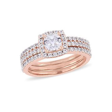 Modern Bride Gemstone Womens Lab Created White Sapphire 18K Rose Gold Over Silver Bridal Set