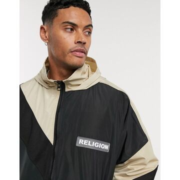 Religion oversized lightweight hooded jacket in black
