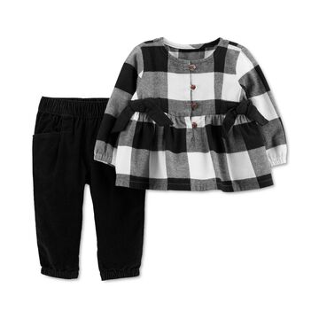 Carter's Baby Girls 2-Pc. Plaid Top & Corduroy Pants Set
