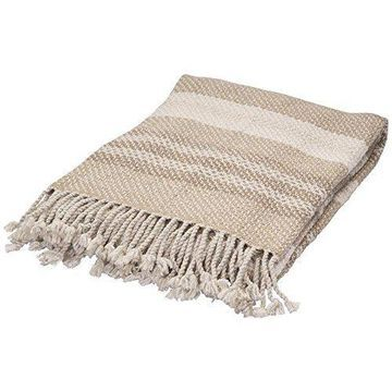 Jaipur Exceptional Quality Hand Made Beige/Ivory Wool Throw - Pale Khaki/Egret