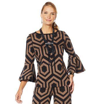 Heidi Daus Simply Sensational Graphic Jacquard Bell-Sleeve Top