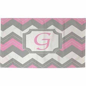 Thumbprintz Chevron Monogram Rug, Pink