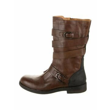 Leather Moto Boots Brown