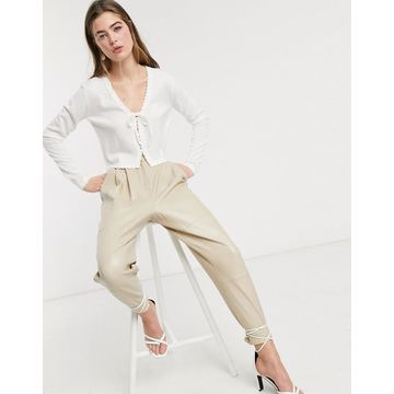 Lost Ink cropped cardigan with scallop edge and tie front-Cream