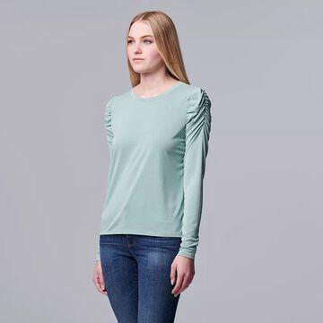 Women's Simply Vera Vera Wang Ruched Long Sleeve Tee, Size: Medium, Med Blue