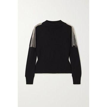Christopher Kane - Cropped Chain-embellished Merino Wool Sweater - Black