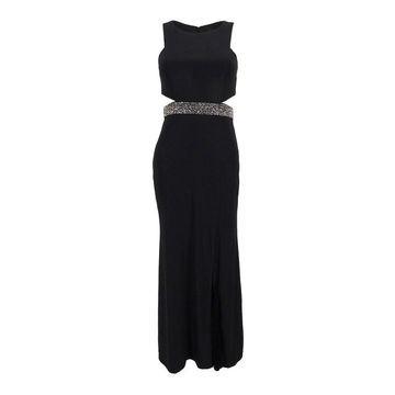 Xscape Women's Illusion Cutout Embellished Gown - Black
