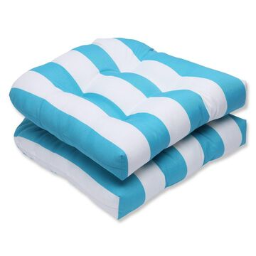 Pillow Perfect Cabana Stripe 2-Piece Outdoor Wicker Seat Cushion Set - Blue