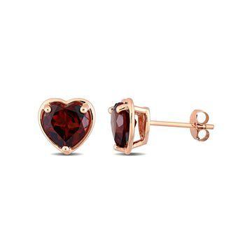 1-7/8 Carat T.G.W. Heart-Cut Red Garnet 14kt Rose Gold Post Earrings