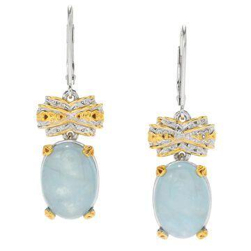 Michael Valitutti Palladium Silver Aquamarine Dangle Earrings