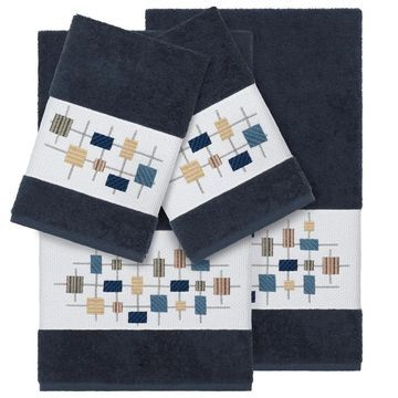 Authentic Hotel and Spa Turkish Cotton Squares Embroidered Midnight Blue 4-piece Towel Set