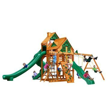 Gorilla Playsets Great Skye II Treehouse Wooden Swing Set with 3 Slides and Clatter Bridge