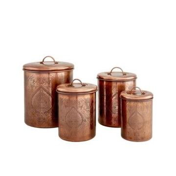Old Dutch International Tangier Antique Copper Etched Canisters, Set of 4