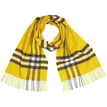Burberry Giant Check Cashmere Scarf- Yellow