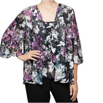 Alex Evenings Women's Small Floral Twinset Sweater