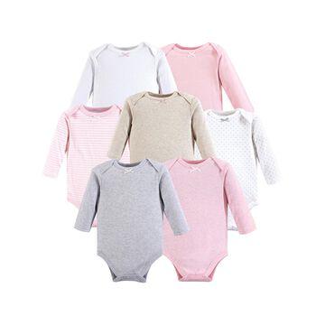 Hudson Baby Girls' Infant Bodysuits Girl - Pink & White Long-Sleeve Bodysuit Set - Infant
