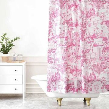 Deny Designs Farm Land Toile Shower Curtain in Pink