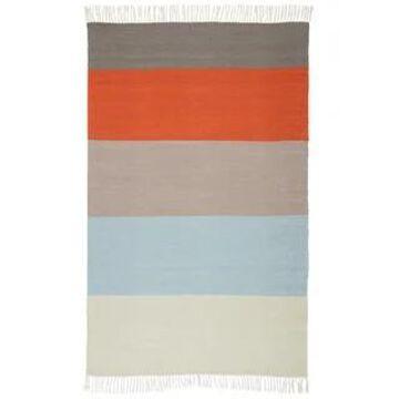 Tahoe Orange/Blue Striped Indoor/Outdoor Area Rug (5'0 x 8'0) - 5' x 8' (5' x 8' - Orange/Blue)