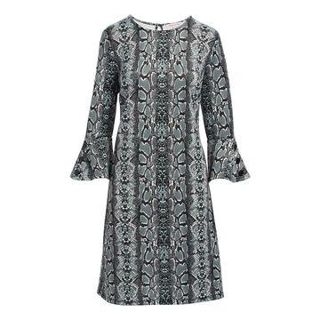 Derek Heart Women's Casual Dresses GREY - Gray Animal Print Stripe Bell-Sleeve Shift Dress - Juniors