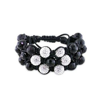 Miabella Black Beads and White Cubic Zirconia Macrame Bracelet