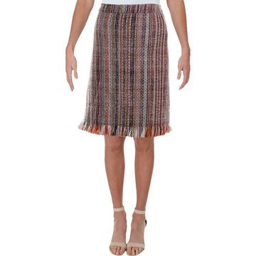 Chelsea & Theodore Womens Tweed Fringe Skirt
