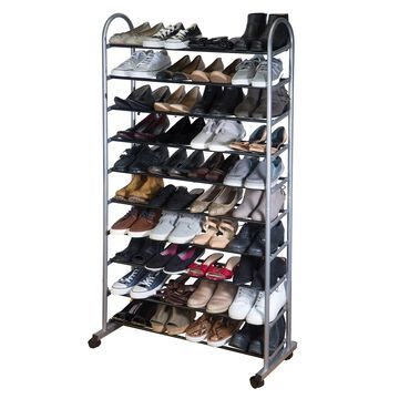Simplify 10-Tier Mobile Rolling Shoe Rack