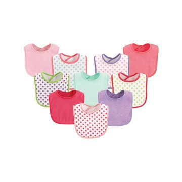 Luvable Friends Girls' Bibs Girl - Fuchsia Polka Dot Bib Set