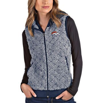 Women's Antigua Heathered Navy Denver Broncos Fame Hooded Full-Zip Vest