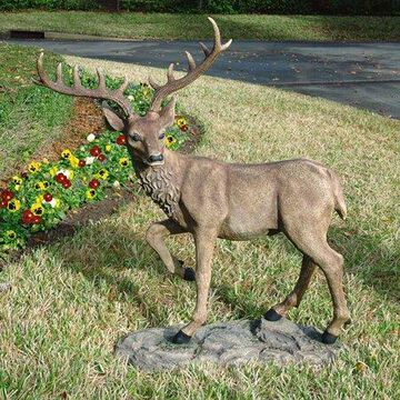 Design Toscano Grand-Scale Black Forest Garden Deer Sculpture