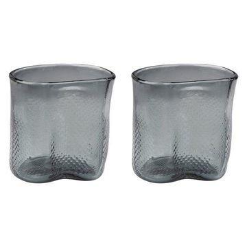 Lazy Susan Fish Net Glass Vases, Gray, Set Of 2