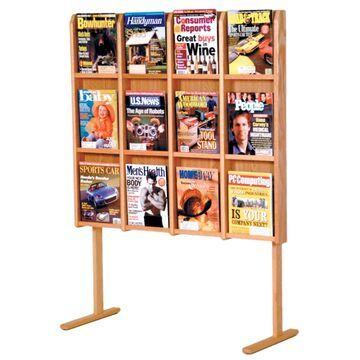 MM12-FSLO Divulge 12 Magazine Floor Display - Light Oak