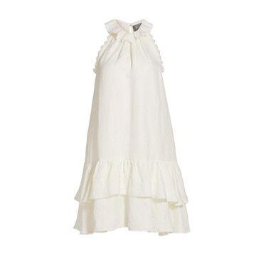 THEIA Halter Tier-Ruffle Silk & Linen-Blend Shift Dress