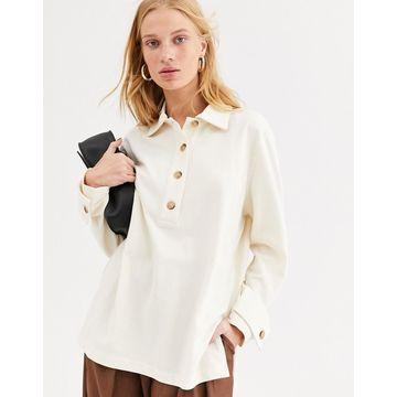 ASOS WHITE oversized polo shirt-Cream