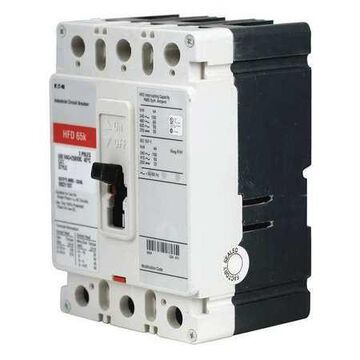 Molded Case Circuit Breaker, 25 A, 600V AC, 3 Pole, Free Standing Mounting Style, HFD Series