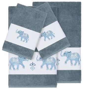 Authentic Hotel and Spa Turkish Cotton Elephants Embroidered Teal Blue 4-piece Towel Set