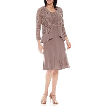 R & M Richards 3/4 Sleeve Lace Jacket Dress
