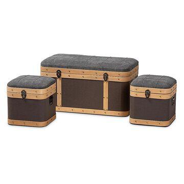 Baxton Studio Cade 3-Piece Storage Ottoman Trunk Set In Grey And Brown Grey/dark Brown