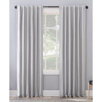"Sun Zero Evelina Faux Dupioni Silk Thermal Extreme Blackout Back Tab Curtain Panel, 84"" L x 50"" W"