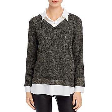 Karl Lagerfeld Paris Metallic Layered-Look Sweater