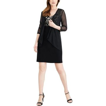 Connected Apparel Womens Petites Dress With Jacket Metallic Embroidered