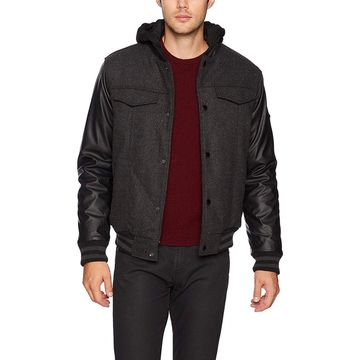 English Laundry Black Mens Size Large L Faux-Fur Hooded Jacket