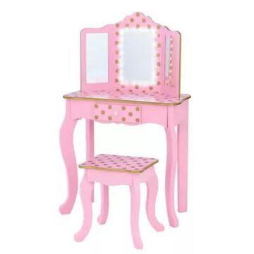 Teamson Kids Polka Dot Prints Gisele Play Vanity Set with LED Mirrorin Rose