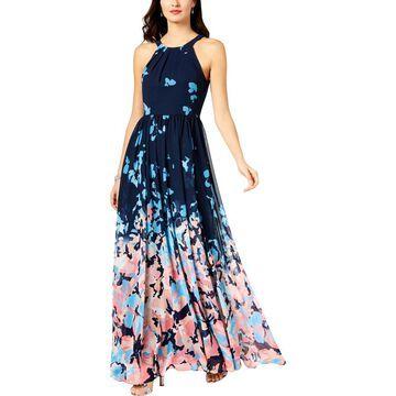 Betsy & Adam Womens Halter Printed Evening Dress