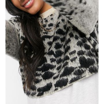 Mamalicious Maternity fluffy cropped sweater in leopard print-Multi