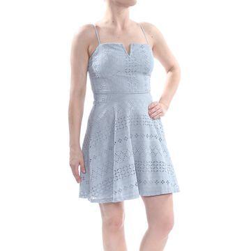 TRIXXI Womens Blue Eyelet Spaghetti Strap Square Neck Above The Knee Dress Size: S