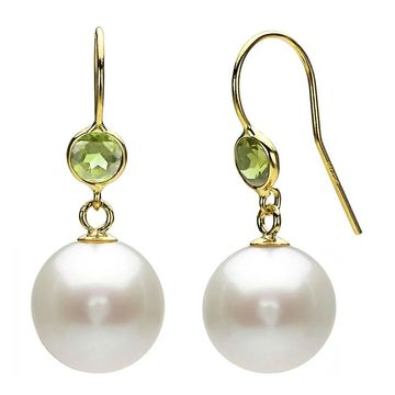 DaVonna 14k Yellow Gold Green Peridot and White Freshwater Pearl Dangle Earrings