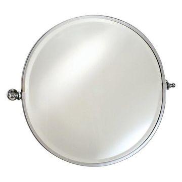 Afina Radiance Gear Tilt Beveled Mirror w/ Trim, Satin Nickel, Round 2