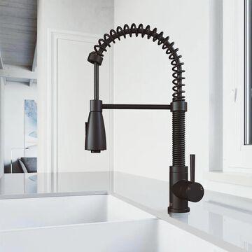 VIGO Brant Matte Black 1-Handle Deck-Mount Pull-Down Handle Kitchen Faucet | VG02003MB